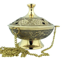 Charcoal Incense Burner Gold Tone Brass Bronze Hanging Chain Embossed Symbols Home Decor Accent