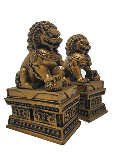 Wealth Porsperity Pair of Fu Foo Dogs Guardian Lion Statues Bookends Feng Shui Home Decor Accent