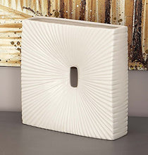 Decor Ceramic Spine Coastal White Finish Texture Shell Vase, 19 by 9-Inch Home Decor Accent