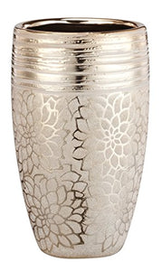 Napco Gold Metallic Gold Finish Floral Pattern Ceramic  Vase, Home Decor Accent