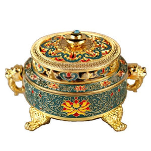 Meditation Feng Shui Yoga Incense Burner Vintage Tibetan Style Relief Bronze Multi-Colored Home