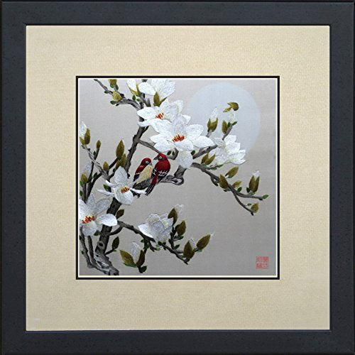King Silk Art 100% Handmade Embroidery Feng Shui Framed Love Birds Cherry Blossom Tree Home Accent