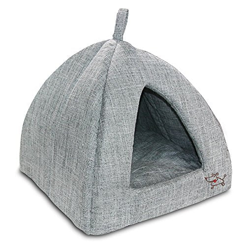 Extra Large Soft Faux Suede, Pet Tent Bed for Dog Cat Grey Foam
