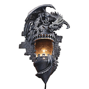 Toscano Dragon Castle Lair Illuminated Wall Sconce Garden Lamp