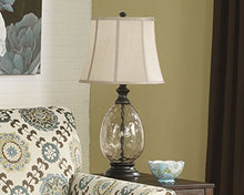 Glass Table Lamp Traditional Smoked Teardrop Design Bell Shaped Shade Bronze Base Home Accent