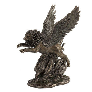 Winged Lion Statue Cold Cast Bronze Figurine Fantasy Myth Home Accent