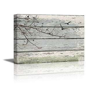 Vintage Wood Background Branches Birds Shabby Chic Stretched Canvas Home Decor Accent