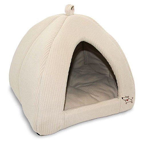 Plush Pet Tent Soft Cozy Fluffy Padded Bed Dog Cat  Corduroy Beige