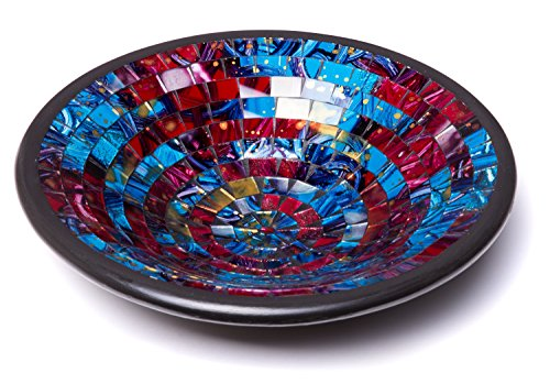 Glass Mosaic Round Accent Plate Decor Bowl Modern Round Blue Red Purple Yellow Candle Holder