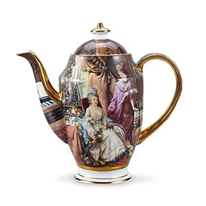 "Bone China 9.5"" Gold Rimmed 48 Ounce Porcelain Teapot Coffee Pot Oil Painting Figure Home Decor Accent"