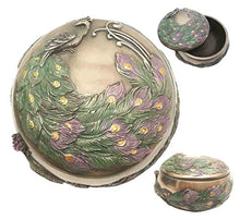 Iridescent Tailed Peacock Art Nouveau Round Jewelry Trinket  Accent