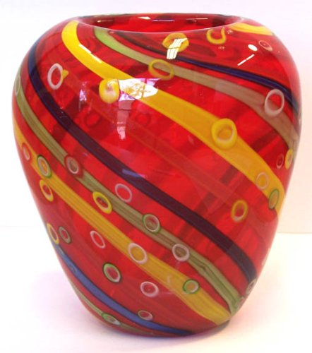 Murano Art Glass Vase w/ Certificate A79 Authentic Multi Colored Home Decor Accent  Gift Table