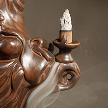 Bodhidharma Zen Master Smoke Back flow Incense Burner/holder Porcelain Beautiful Piece Home Accent
