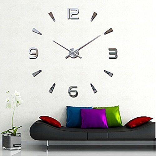 Creative Special Large Quartz Decor 3D Wall Clock Modern Design Mirror Sticker Wall Art