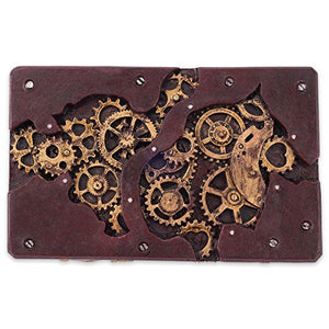 Steampunk Trinket Box Rectangle Gears Wood Bronze Accent Fantasy