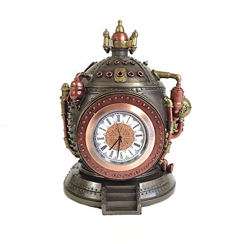 Time Machine Steampunk  Clock  Trinket Box Statue Bronze Accent Home