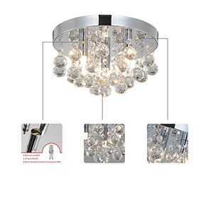 Flush Mount Ceiling Light Crystal Chandeliers 3 Light Fixture Modern Lamps Home Decor Accent