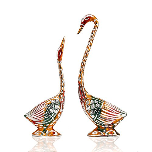 Swan Love Birds Couple Statue Set Metal Bird Pair Feng Shui Multicolor Home Decor Accent