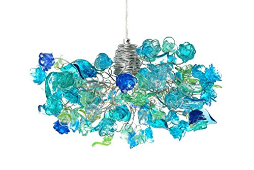 Charming Fantasy Pendant Ceiling Lamp Blue sea color flowers leaves Chandeliers Resin Flowers