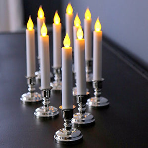 Set10 Flameless White Taper Candles Silver CandleHolder Timer 5 hours Romantic  Home Decor Sale