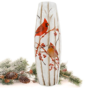 "Stony Creek 12""H Lighted Oval Glass Vase Holiday Winter Cardinals Birds Cabin Home Decor Accent"