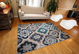 Generations New Contemporary  Beige Navy Coral Blue Grey Modern Area Rug Modern Easy Care Unique Superior Quality Durable Home Decor Accent