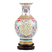 Jingdezhen Traditional Chinese Open Lattice Ceramic Jar Vase Accent