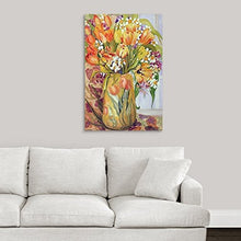 Thick-Wrap Canvas Wall Art Print  Tulips and Narcissi Art Nouveau Vase
