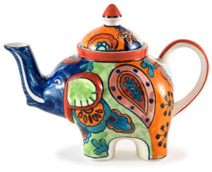 Crazy Paisley Ceramic Elephant Teapot Collectable Whimsical Character Figurine Home Decor Accent