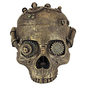 Toscano Steampunk Skull Containment Vessel Trinket  Design Bronze