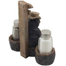 Cute Cast Iron Papa Bear Overseeing Woods Shotgun Salt Pepper Shaker Set Home Accent
