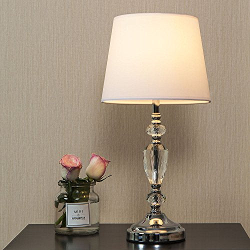 Exquisite Bedroom Crystal Column Bronze Base Table Lamp Fabric Shade Home Decor Accent