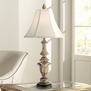 "Gold Wash Distressed Antique Finis 29""H Candlestick Table Lamp Shade Home Decor Accent"