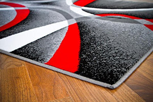 Multi Beige Red Black Area Rug Carpet Modern Abstract Rug Elegant Exquisite Stunning Easy Care Durable Unique Contemporary Home Decor Accent