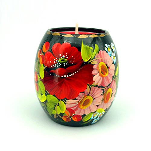 Hand Painted Tea Light Candle Holder Bright Color Flowers Floral Black Background Twinkle