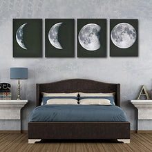 Large  4 Piece Modern Wall Art Lunar Full Moon Stetched Canvas Wall Ready Home Decor Accent
