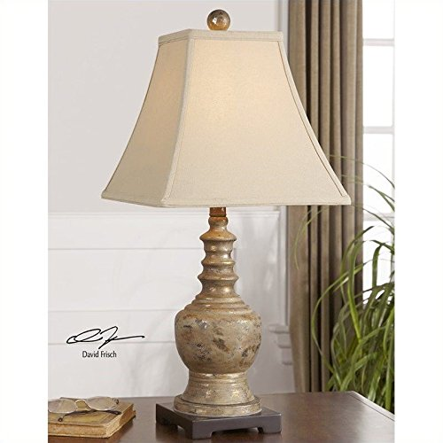 Uttermost Antiqued Taupe Gray Wash Golden Undertones Distressed  Valtellina Lamp Accent Home