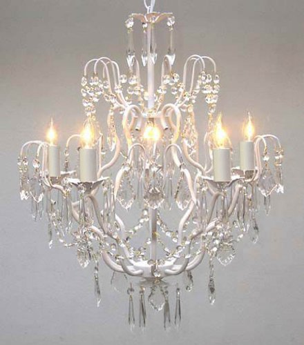 Crystal Chandelier Distress White Wrought Iron Shabby Chic Romantic