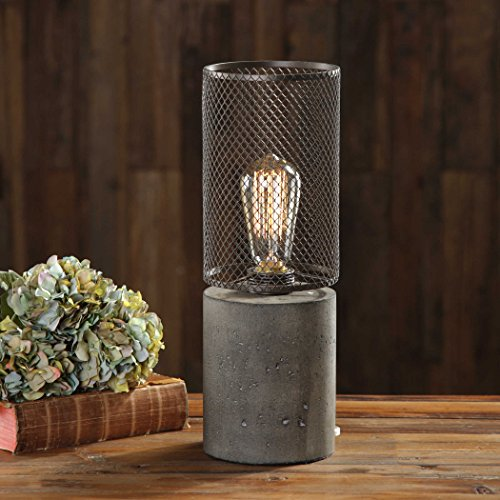 Ledro Thick Concrete Column Lamp Rusty Bronze Steel Cage Antique Style Edison Bulb Accent