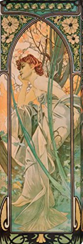 Stretched Canvas Print Alphonse Mucha  Evening Contemplation Accent
