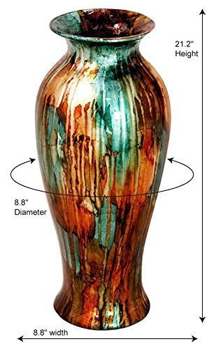 Traditional Decorative Ceramic Vase Glazed Green Copper Silver Accent