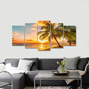 Modern Tropical Seascape Ocean  5 Piece Stretched Canvas Prints Artwork  Wall Art Home Accent