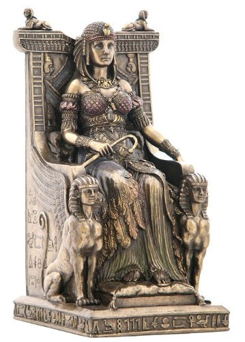 Egyptian Queen Sitting  Throne Cold Cast Bronze Statue Fantasy Accent