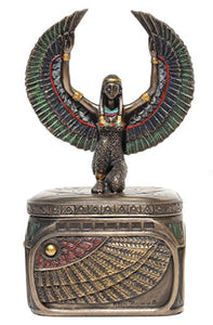 Egyptian Goddess SquareTrinket Box Cold Cast Bronze Box Fantasy Accent