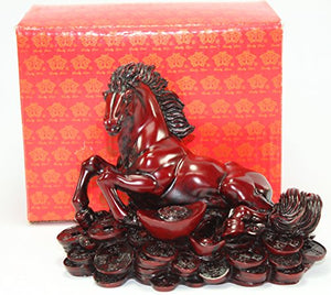 Red Money Horse Money  Nobility Statue Figurine Table Top  Feng Shui Gift Home Decor Accent