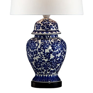 Blue White Traditional Floral Pattern Ceramic   Porcelain Ginger Jar  Table Lamp Shade Home Decor Accent