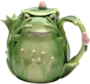 Fairy Frog Porcelain Teapot Kiss Toad Green  Collectable Whimsical Figurine Home Decor Accent