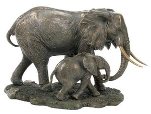 Elephant and Baby Elephant Sculpture Cold Cast Bronze Wildlife Accent