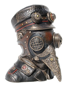 Plague Doctor Steampunk Mask Bronze Bust Trinket Box Fantasy Accent
