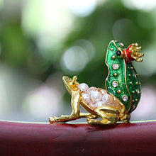 Frog Prince Crystals Hand-painted Patterns Hinged Jewelry Trinket Box Collectable Home Accent